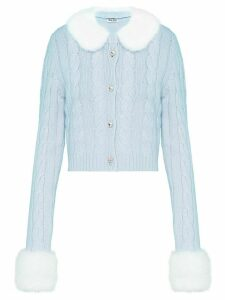 Miu Miu fur trim cardigan - Blue