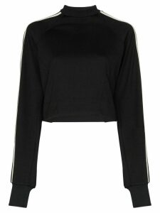 Y-3 three stripe cropped sweatshirt - Black