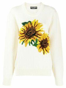 Dolce & Gabbana sunflower intarsia jumper - White