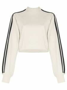 Y-3 striped cropped sweatshirt - NEUTRALS