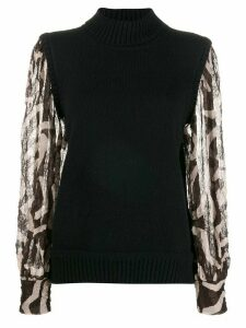 Maison Flaneur contrasting long-sleeved jumper - Black
