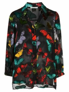 Alice+Olivia Sheila sheer butterfly shirt - Black
