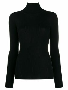 Closed ribbed roll neck sweater - Black