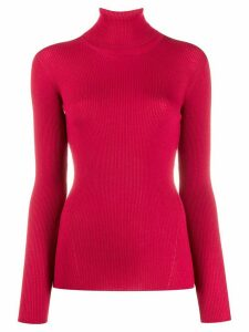 Closed roll-neck ribbed jumper - Pink