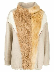 Tela shearling-panelled jacket - NEUTRALS