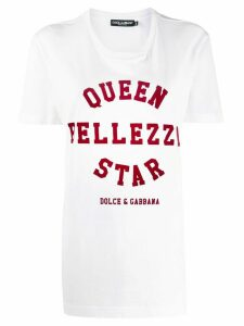 Dolce & Gabbana 'queen bellezza star' print T-shirt - White