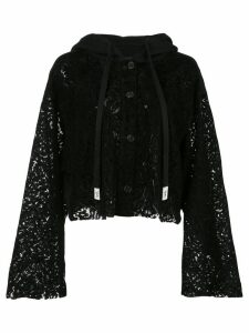 Haculla cropped lace see through hoodie - Black