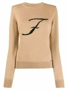 Fay F monogram jumper - Brown