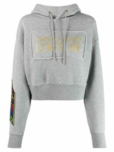 Versace Jeans Couture Quantity Quality cropped hoodie - Grey