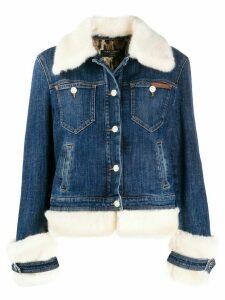 Dolce & Gabbana faux-fur trimmed denim jacket - Blue