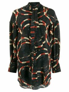 Rokh belt print blouse - Black