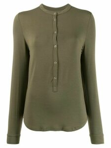 Majestic Filatures band collar jersey top - Green