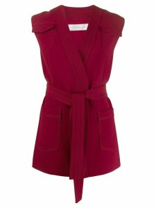 Victoria Victoria Beckham sleeveless belted cardigan - Red
