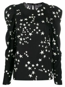 P.A.R.O.S.H. star print long-sleeve blouse - Black