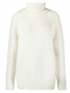 Closed turtleneck knit jumper - White