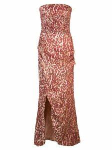 Rasario leopard print strapless dress - Red