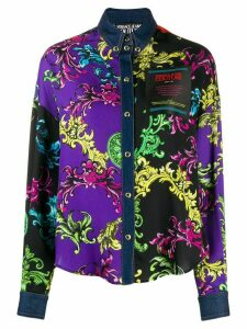 Versace Jeans Couture Baroque-print panelled shirt - PURPLE