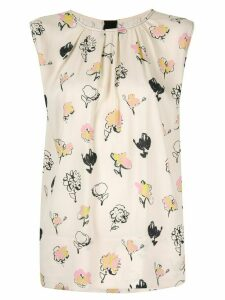 Marni floral print sleeveless blouse - NEUTRALS