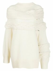 Sacai mock neck oversized jumper - White