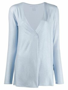 Majestic Filatures metallic jersey cardigan - Blue