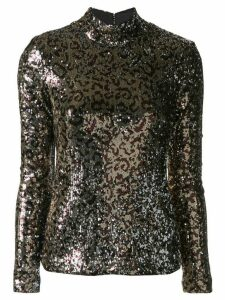 Milly glitter funnel-neck top - Gold