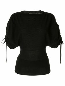 Stella McCartney gathered-sleeve knitted top - Black