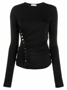 Paco Rabanne button ruched top - Black