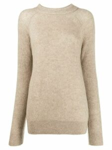 Agnona ribbed raglan-sleeves jumper - NEUTRALS