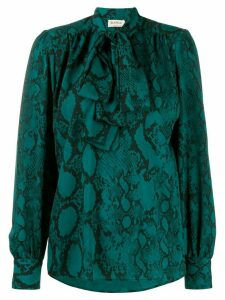 Blanca Vita snakeskin print pussybow blouse - Green
