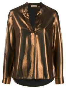 Blanca Vita metallic long sleeve blouse - Brown