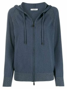 Peserico zip-up knit hoodie - Blue