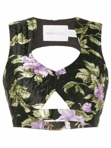 Alice McCall Wild Flowers cropped top - Black