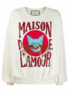 Gucci Maison de L'Amour sequined sweatshirt - Neutrals