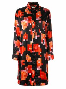 Marni pixel floral print shirt dress - Black