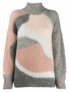 Alberta Ferretti ribbed intarsia knit jumper - PINK