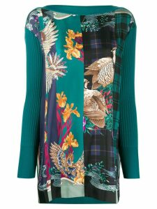 Salvatore Ferragamo floral print contrast knitted top - Green