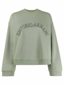 Emporio Armani logo embroidered sweatshirt - Green