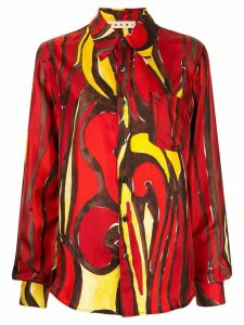 Marni printed long-sleeved buttoned shirt - Red