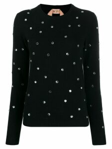 Nº21 crystal embellished jumper - Black