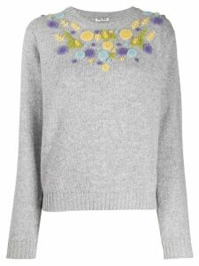 Miu Miu floral embellished jumper - Grey