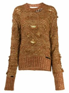 Mm6 Maison Margiela deconstructed cable knit jumper - Brown