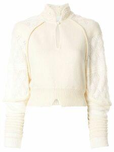 Mame Kurogouchi Mandarin-collar cropped jumper - White