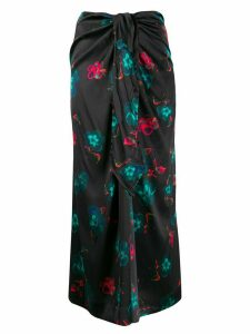 GANNI floral long skirt - Black