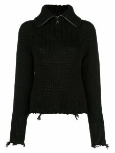RtA zip-up knitted frayed sweatshirt - Black