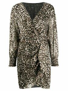 Pinko leopard print plissé dress - Brown