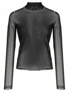 Sandy Liang skin-tight transparent top - Black