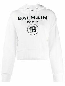 Balmain printed logo cropped hoodie - White