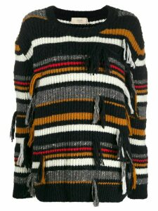 Maison Flaneur oversized striped jumper - Black