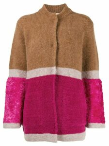 Chiara Bertani colour-block knit cardigan - Brown