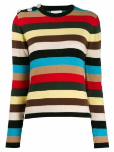 GANNI embellished striped jumper - Black